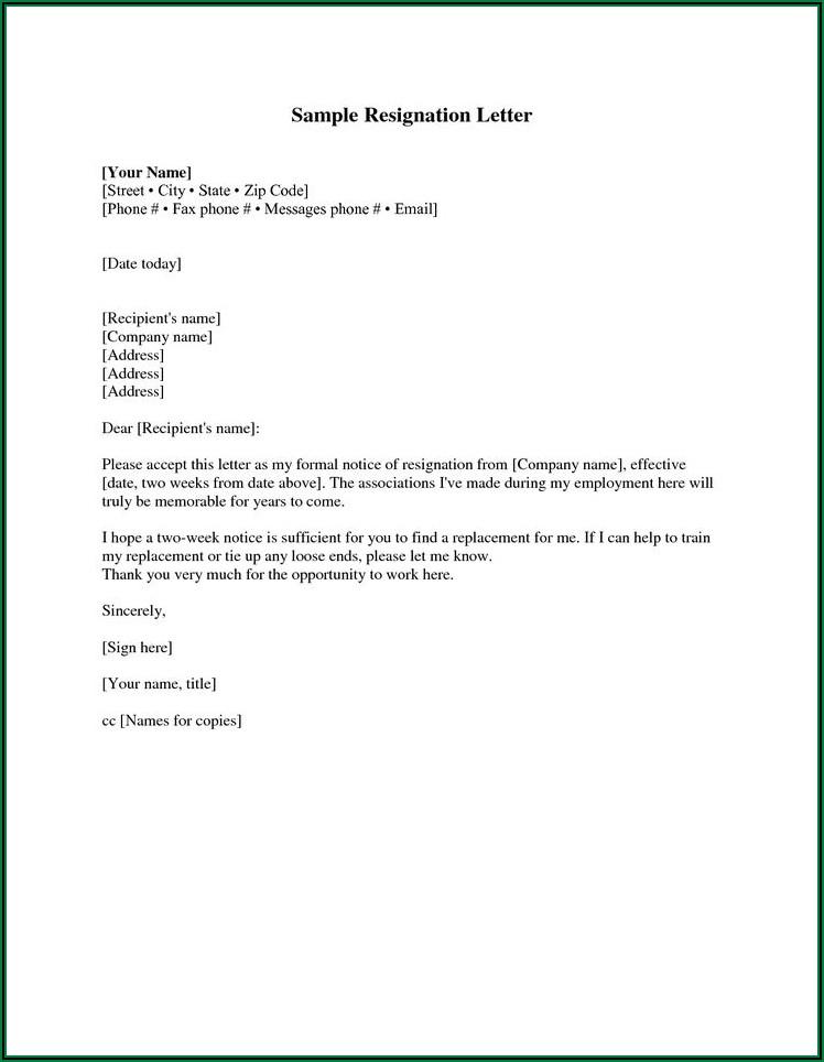 Write Resignation Letter Sample