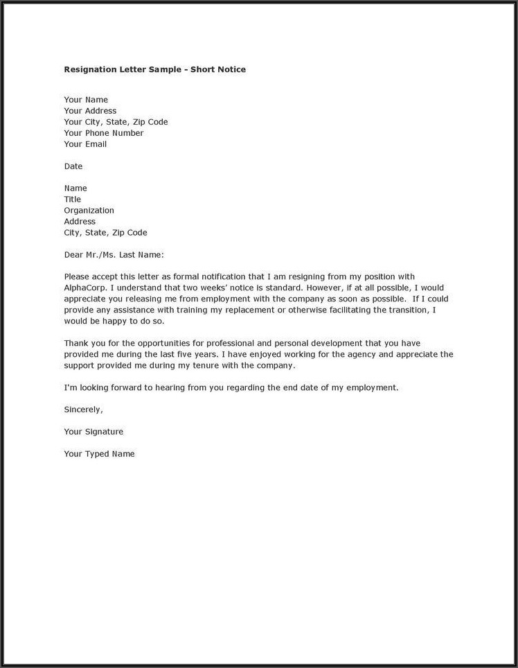 Writing A Formal Resignation Letter Samples