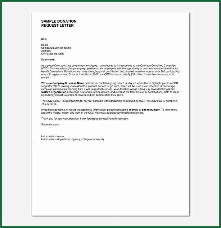 Writing A Letter Asking For Donations Template