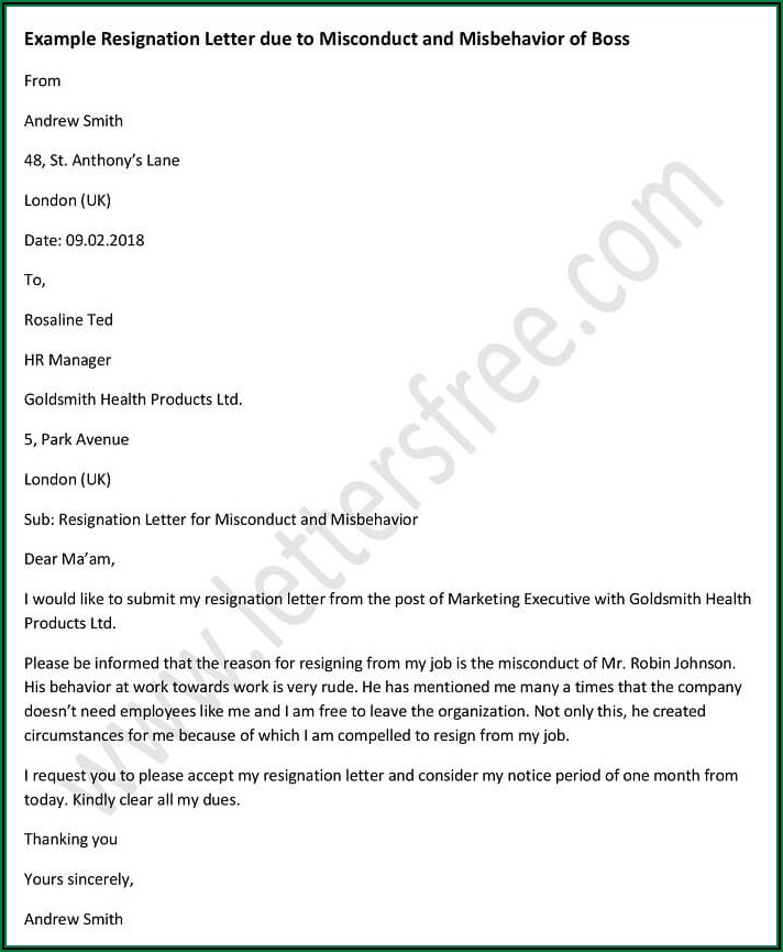 Writing A Resignation Letter Examples