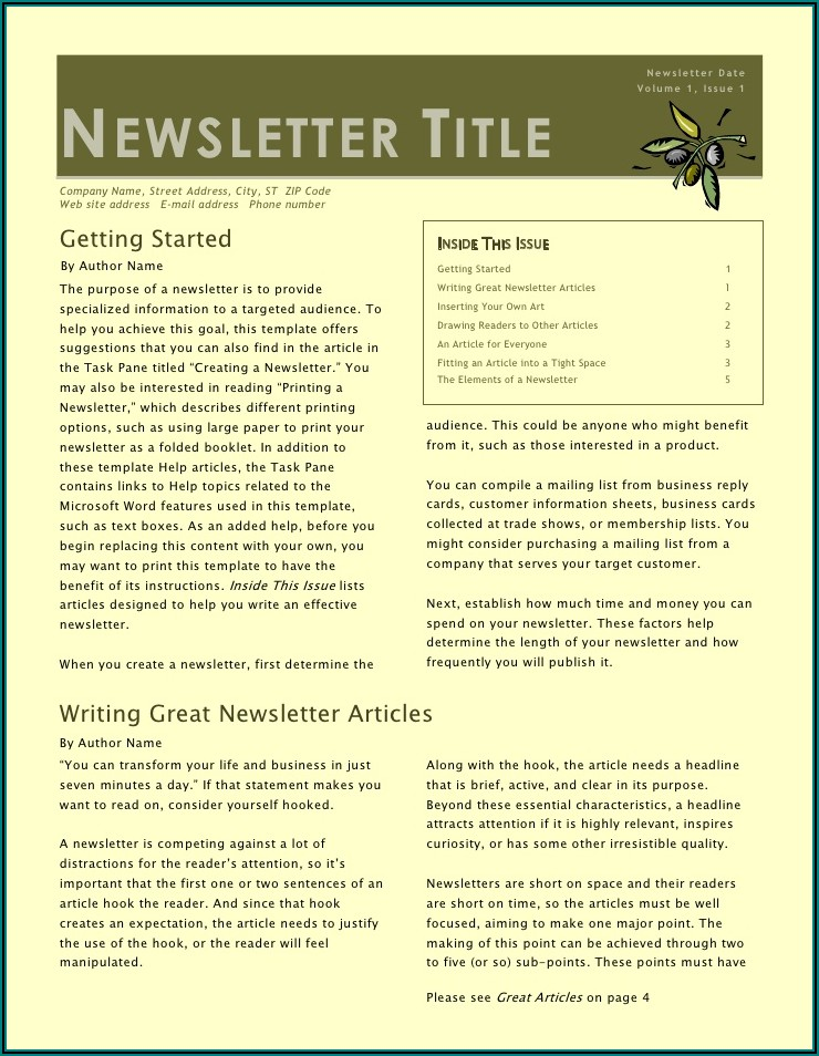 Writing Articles For Company Newsletter