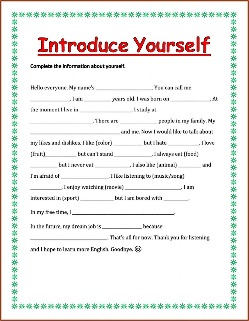 Writing Introductions Worksheet Pdf