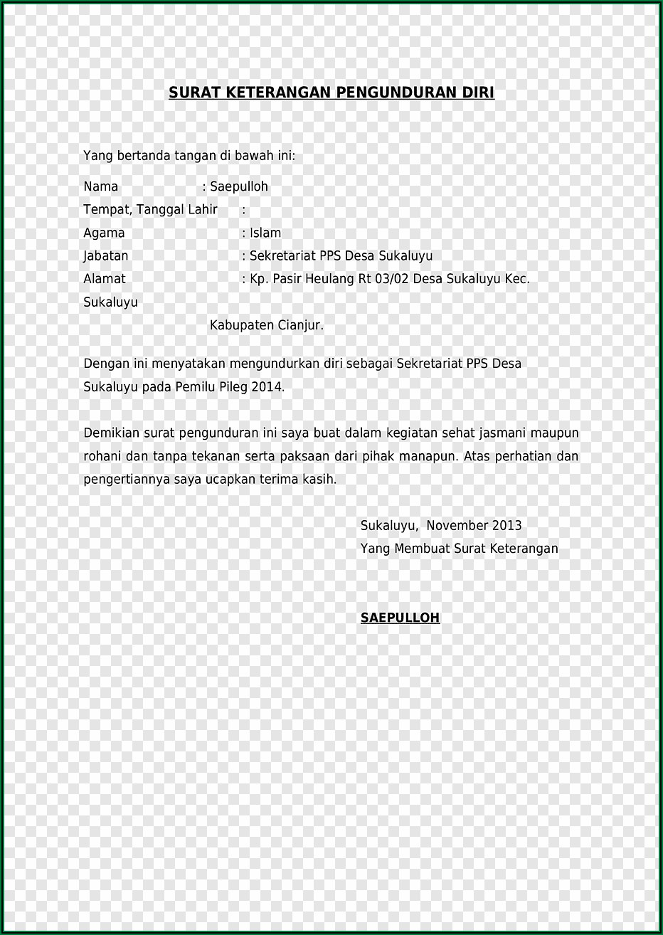 Writing Resignation Letter Template