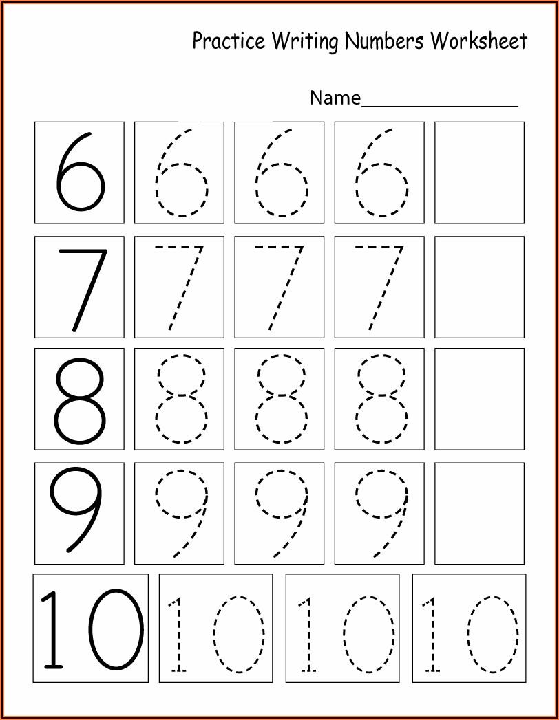 Writing Worksheets For Kindergarten Numbers