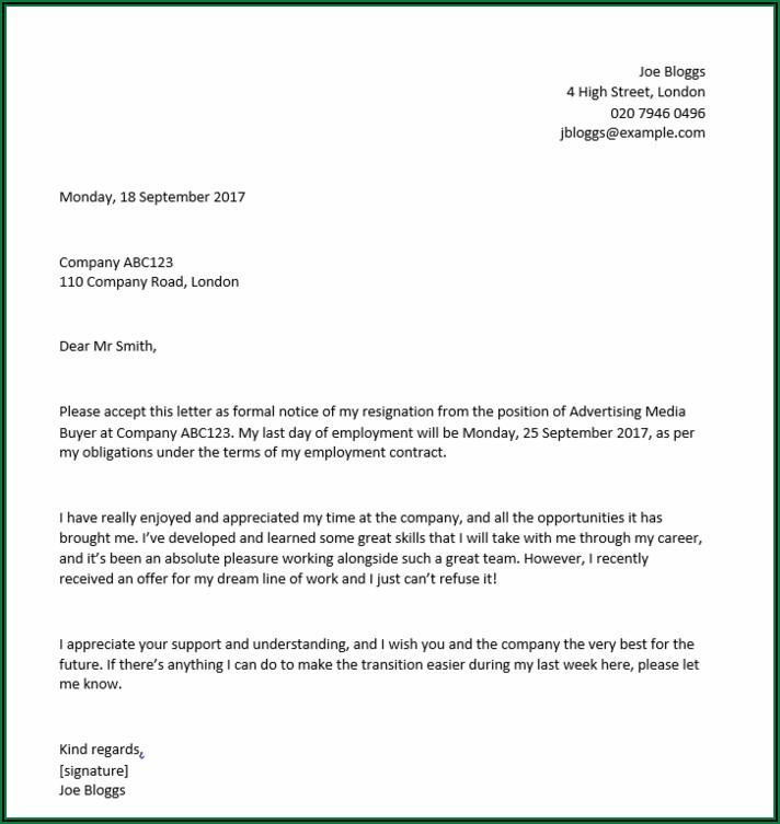 Written Resignation Letter Example