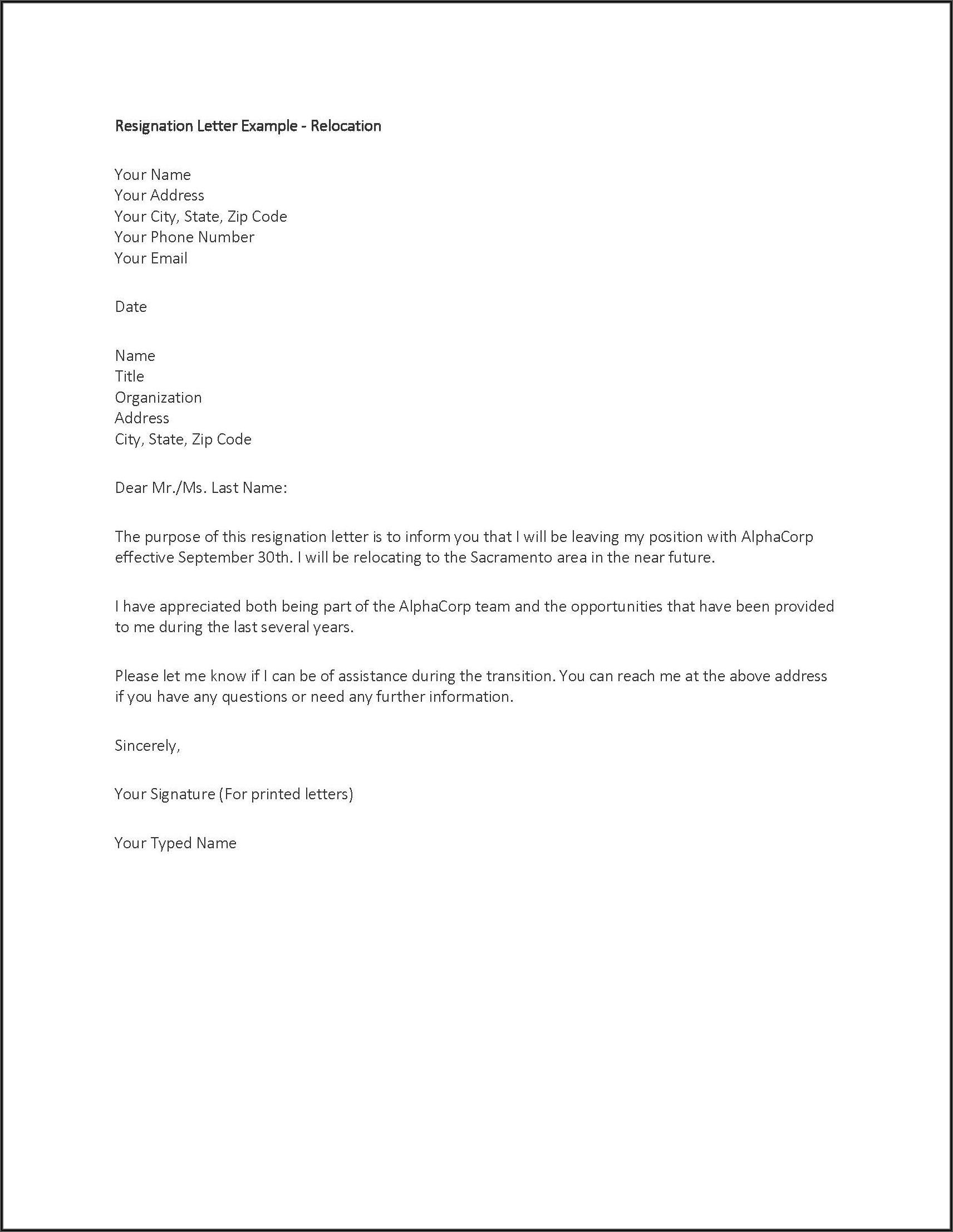 Written Resignation Letter Format