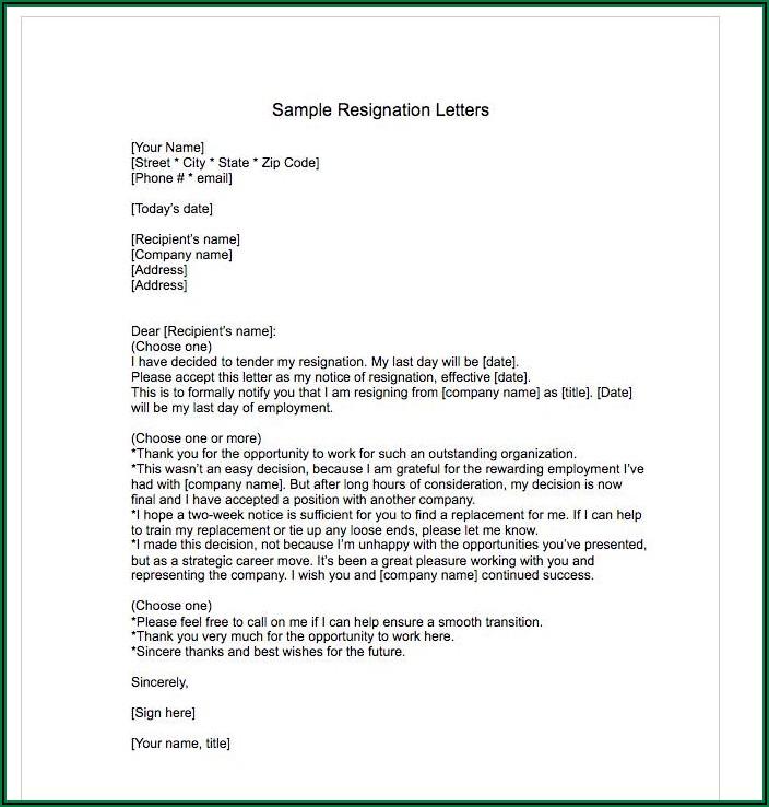 Written Resignation Letter Template