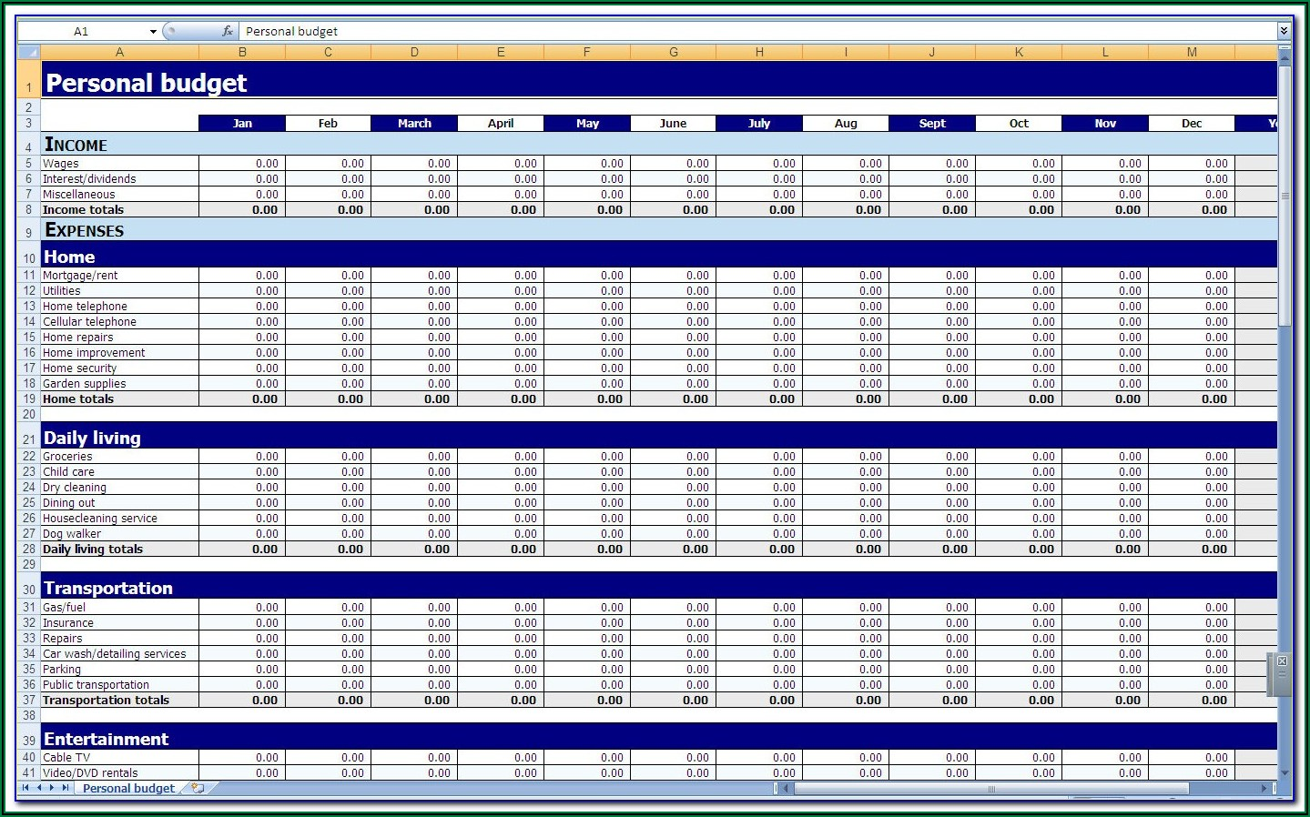 Yearly Personal Budget Template Excel