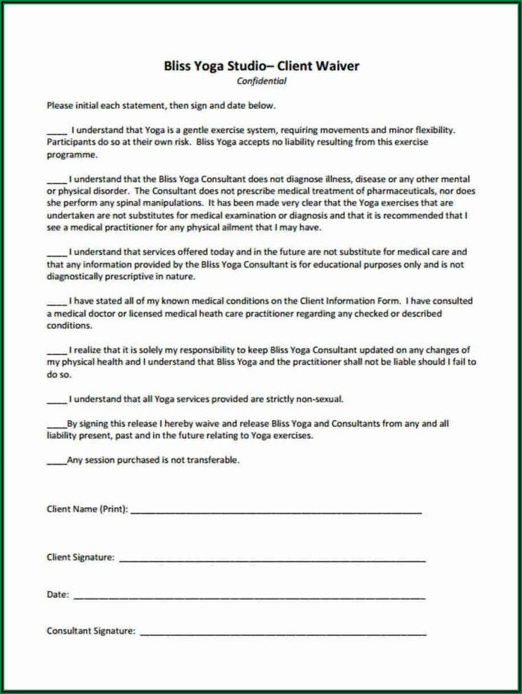 Yoga Release Form Template
