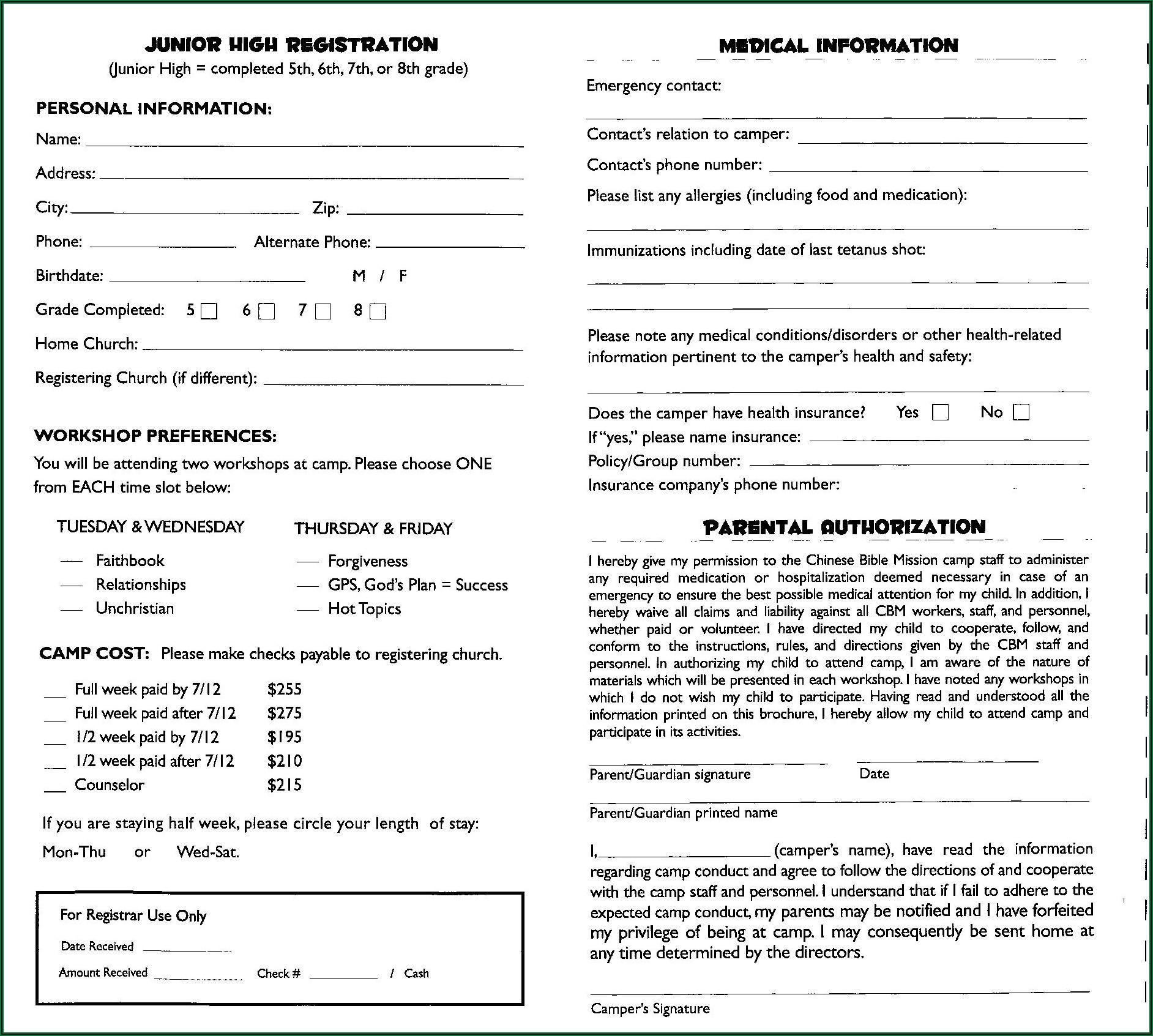 Youth Camp Registration Form Sample