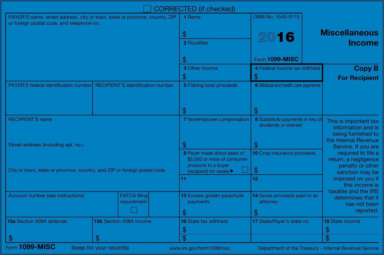 2016 Form 1099 Filing Deadline