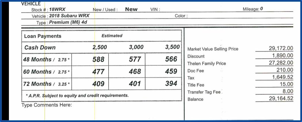 2020 Subaru Legacy Dealer Invoice