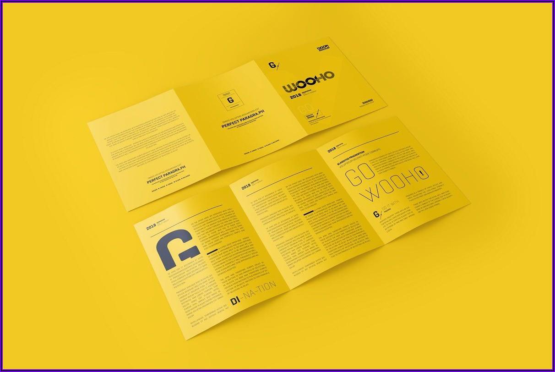 3 Fold Square Brochure Mockup