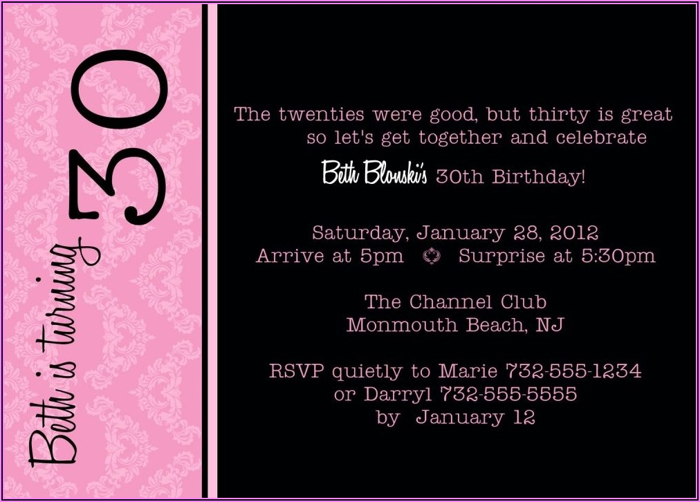 30th Birthday Invite Funny Wording