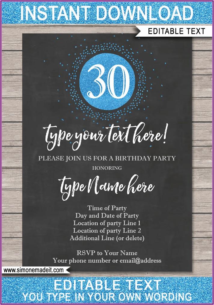 30th Birthday Party Invitations Saying