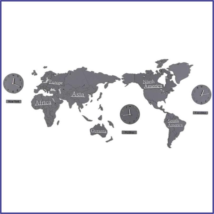 3d World Map Wall Clock
