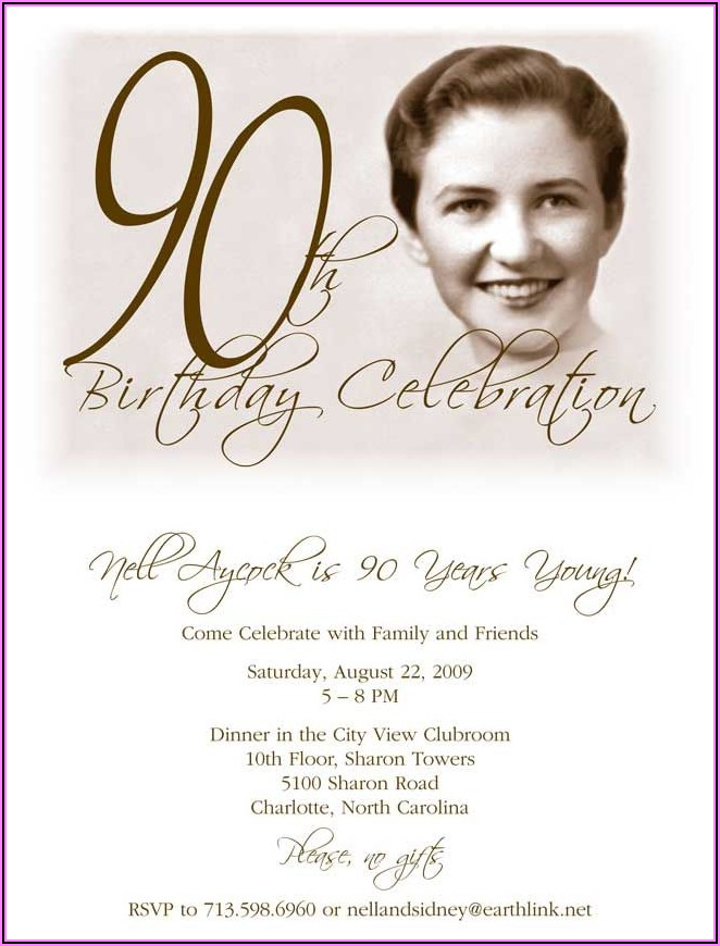 90th Birthday Invitations With Photo