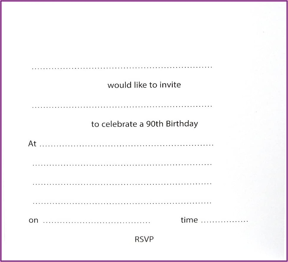 90th Birthday Party Invitations Uk