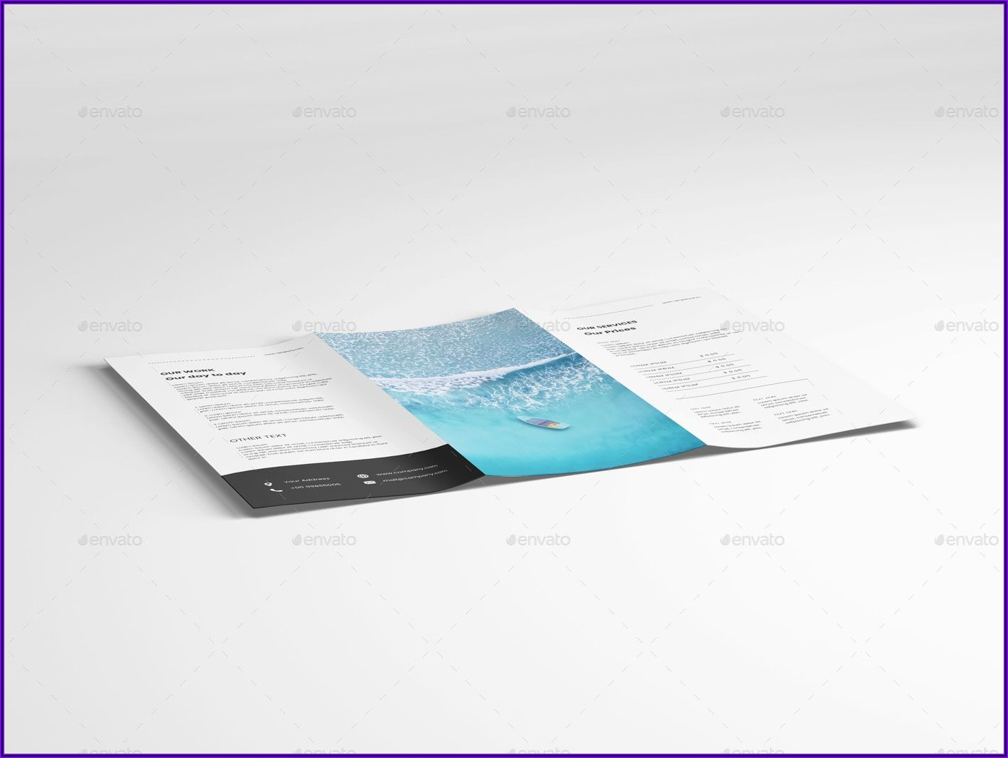 A4 3 Fold Brochure Mockup