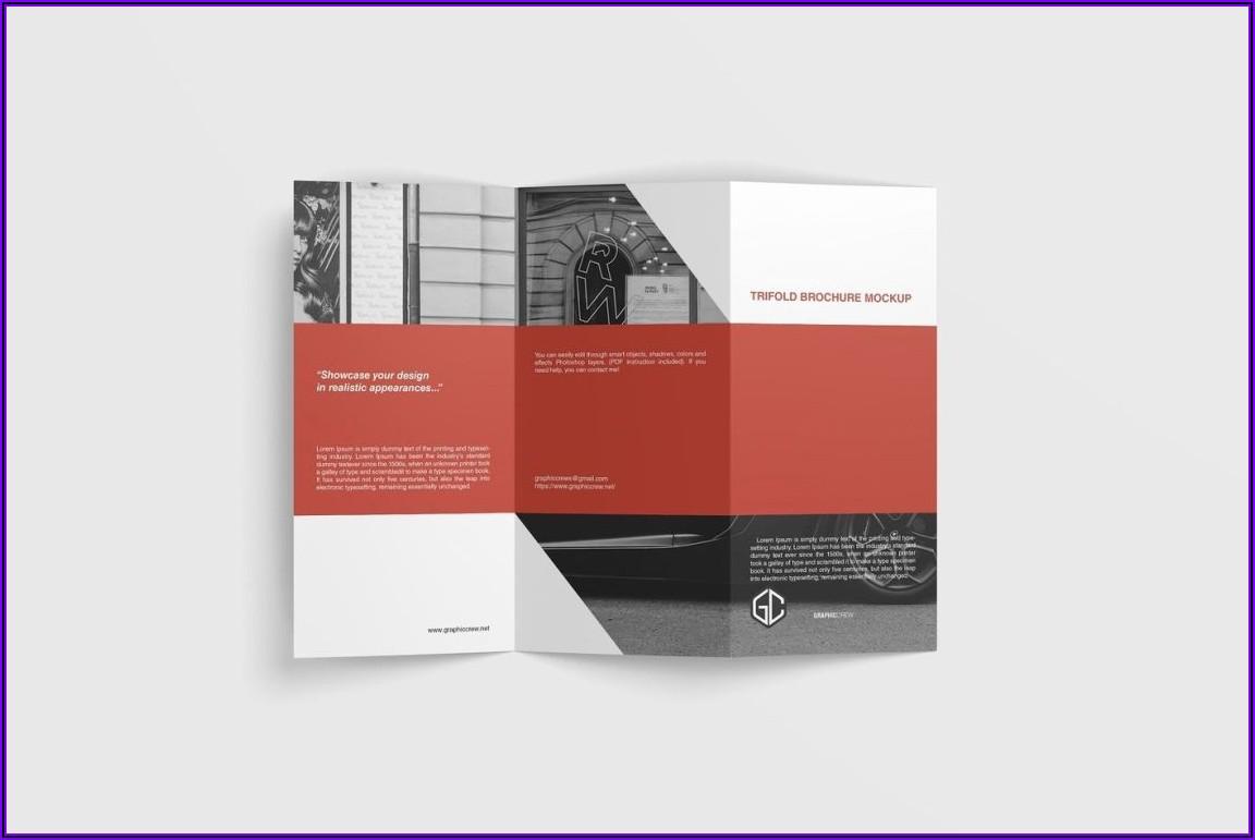 A4 Tri Fold Brochure Mockup Free Psd
