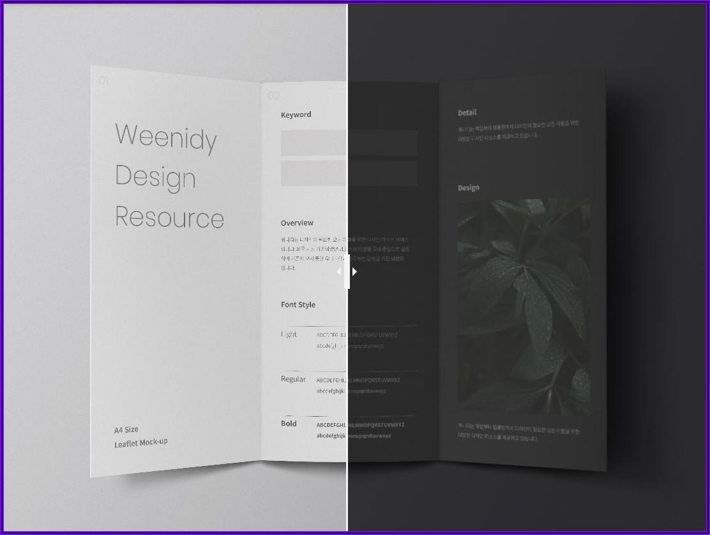 A4 Tri Fold Brochure Mockup Free
