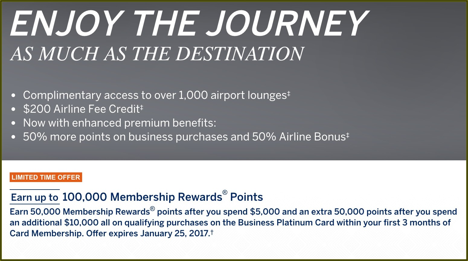 American Express Platinum Business Card 100 000 Points