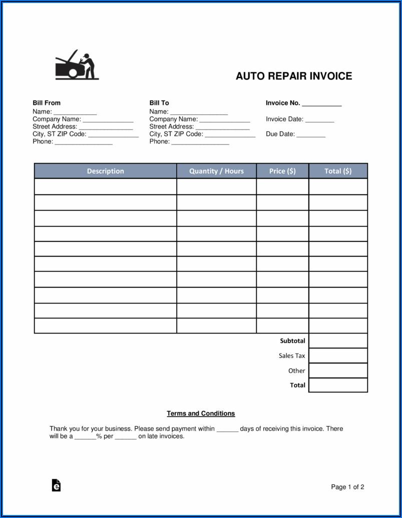 Auto Repair Invoice Pdf
