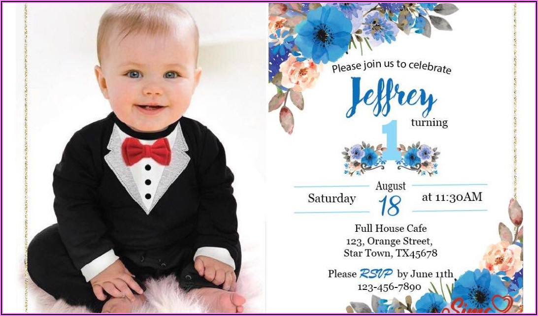 Baby Boy 1st Birthday Invitation Card