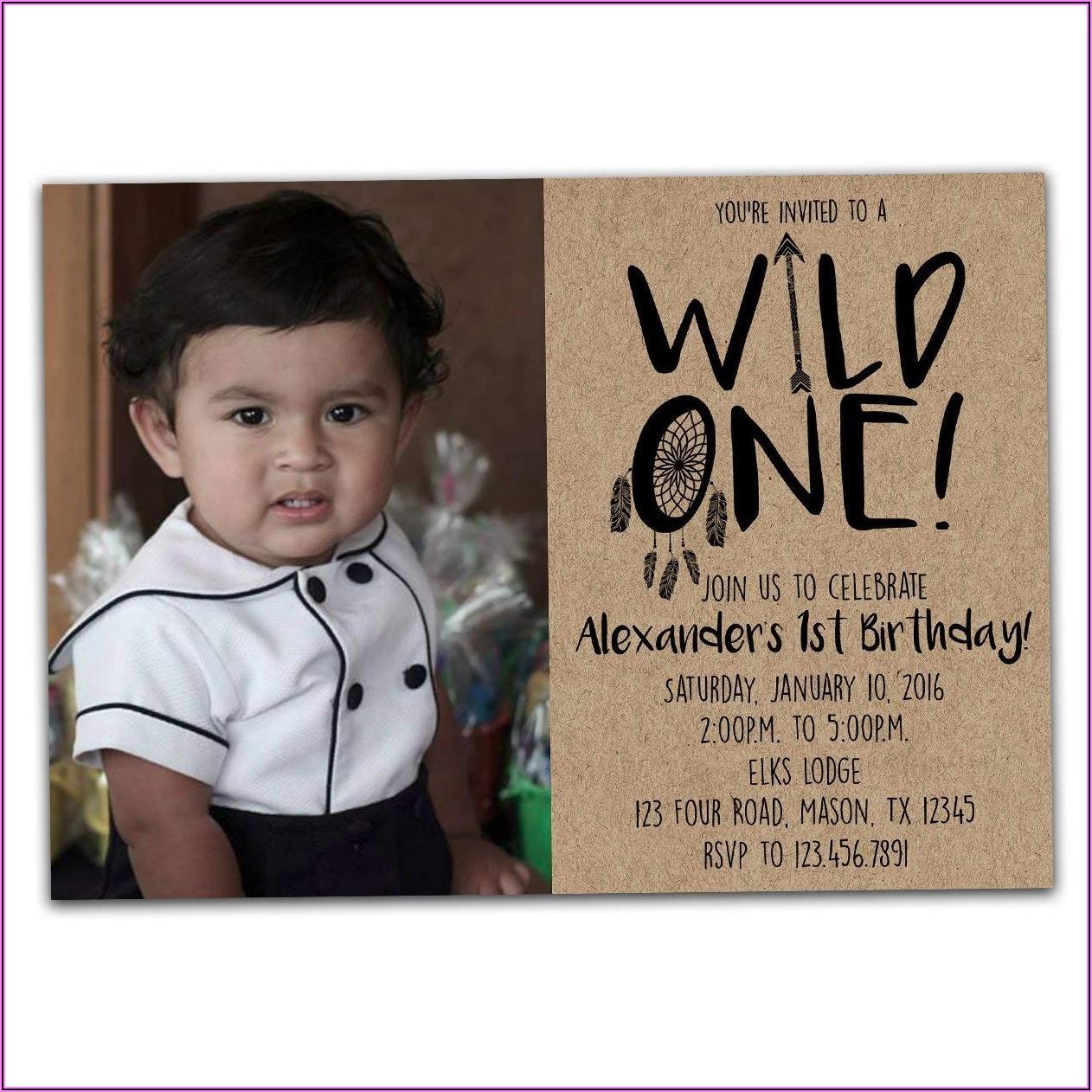 Baby Boy First Birthday Invitation With Photo