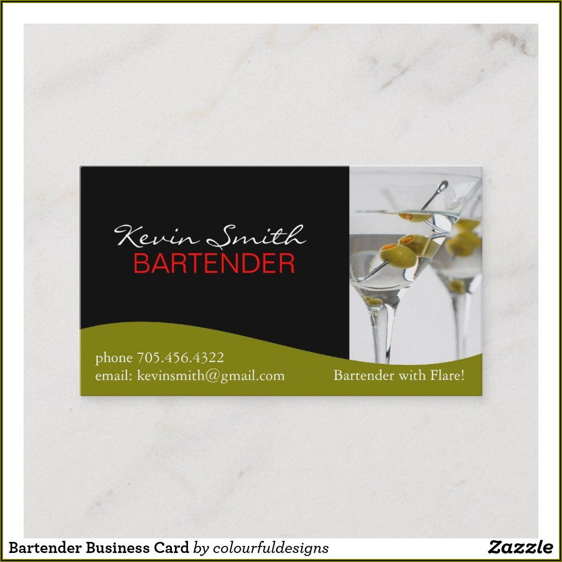 Bartender Business Card Examples