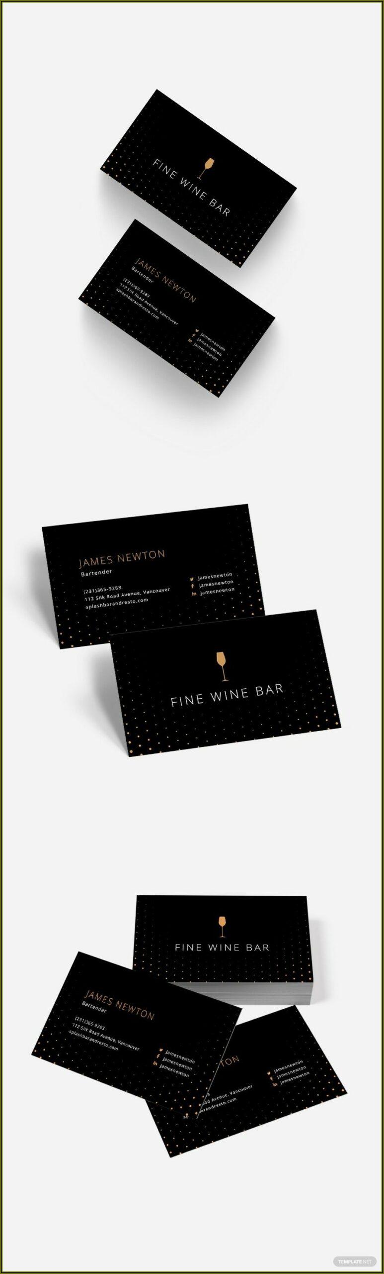 Bartender Business Card Template Free