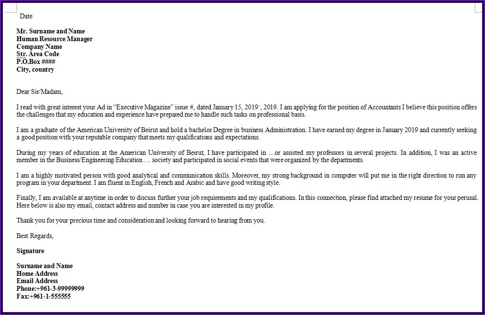 Basic Business Letter Template Word