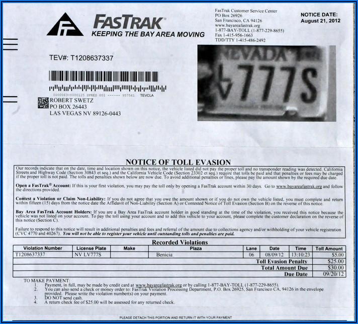 Bayareafastrak.org Toll Invoice