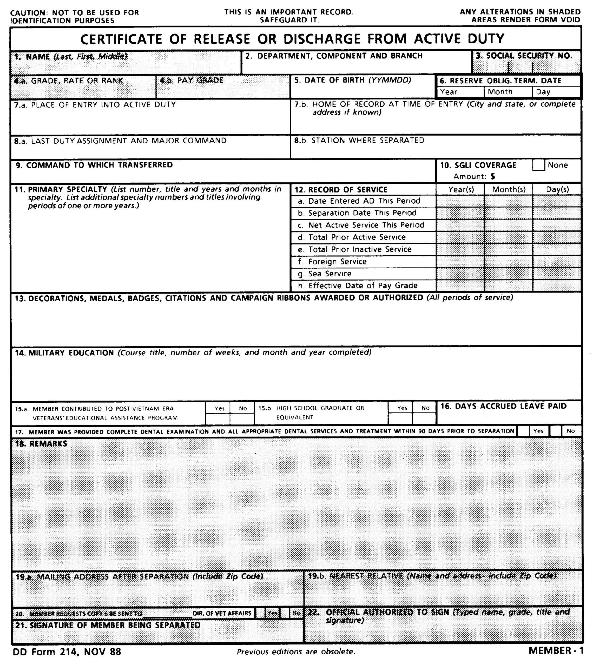 Blank Copy Form Dd 214