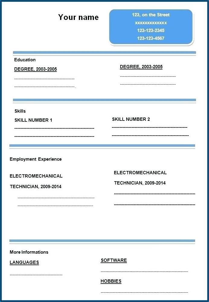 Blank Resume Format Pdf Free Download