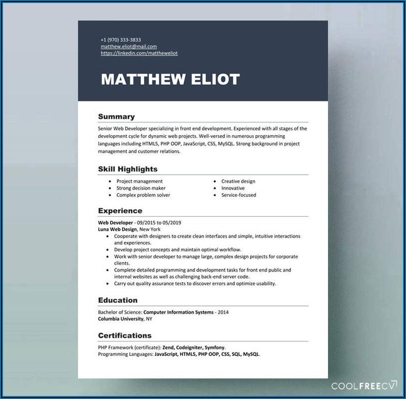 Blank Resume Format Word Free Download