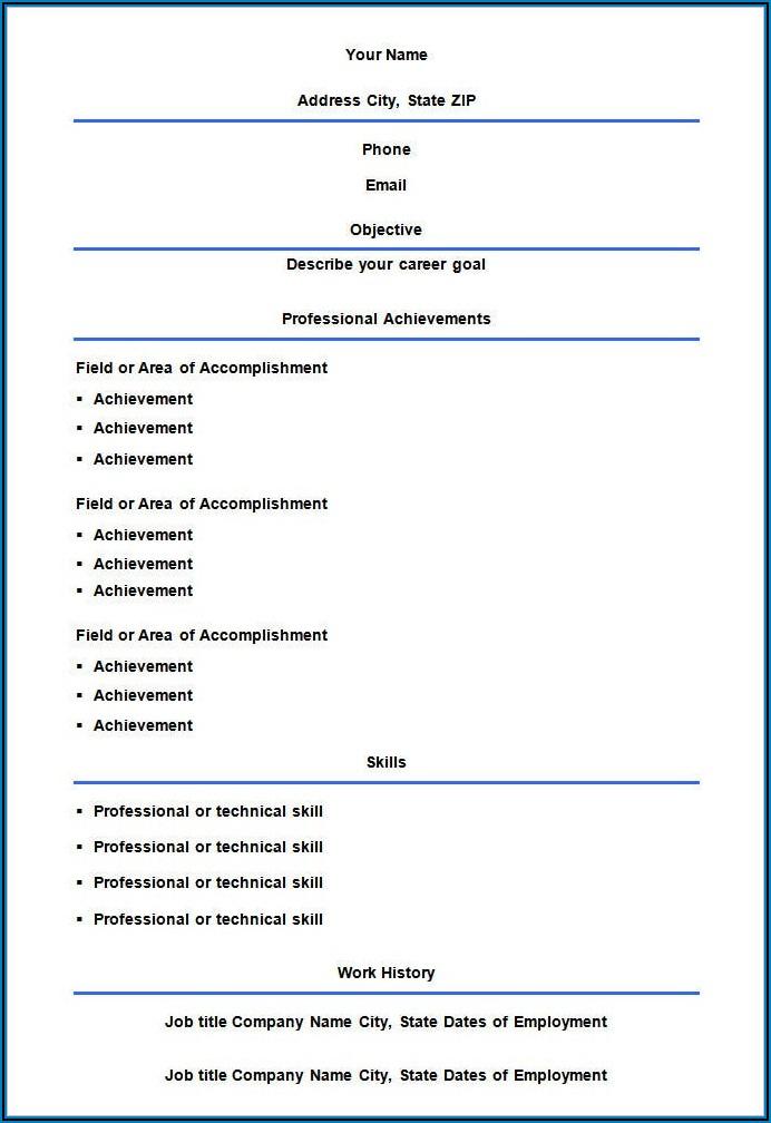 Blank Resume Template Pdf Free Download