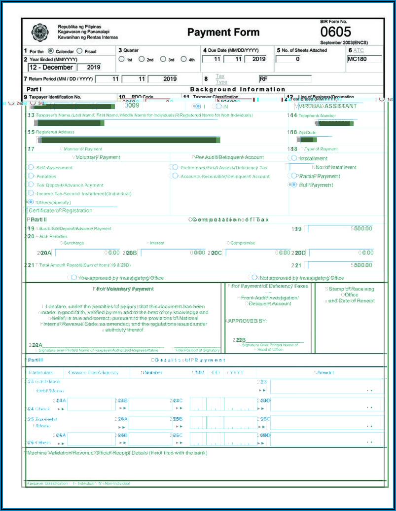 Bureau Of Internal Revenue Form 0605
