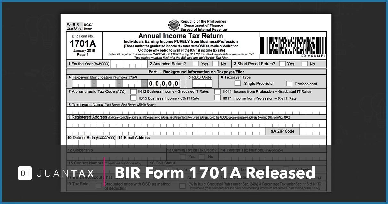 Bureau Of Internal Revenue Form 1701