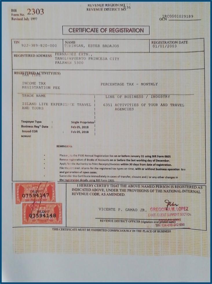 Bureau Of Internal Revenue Form 2303