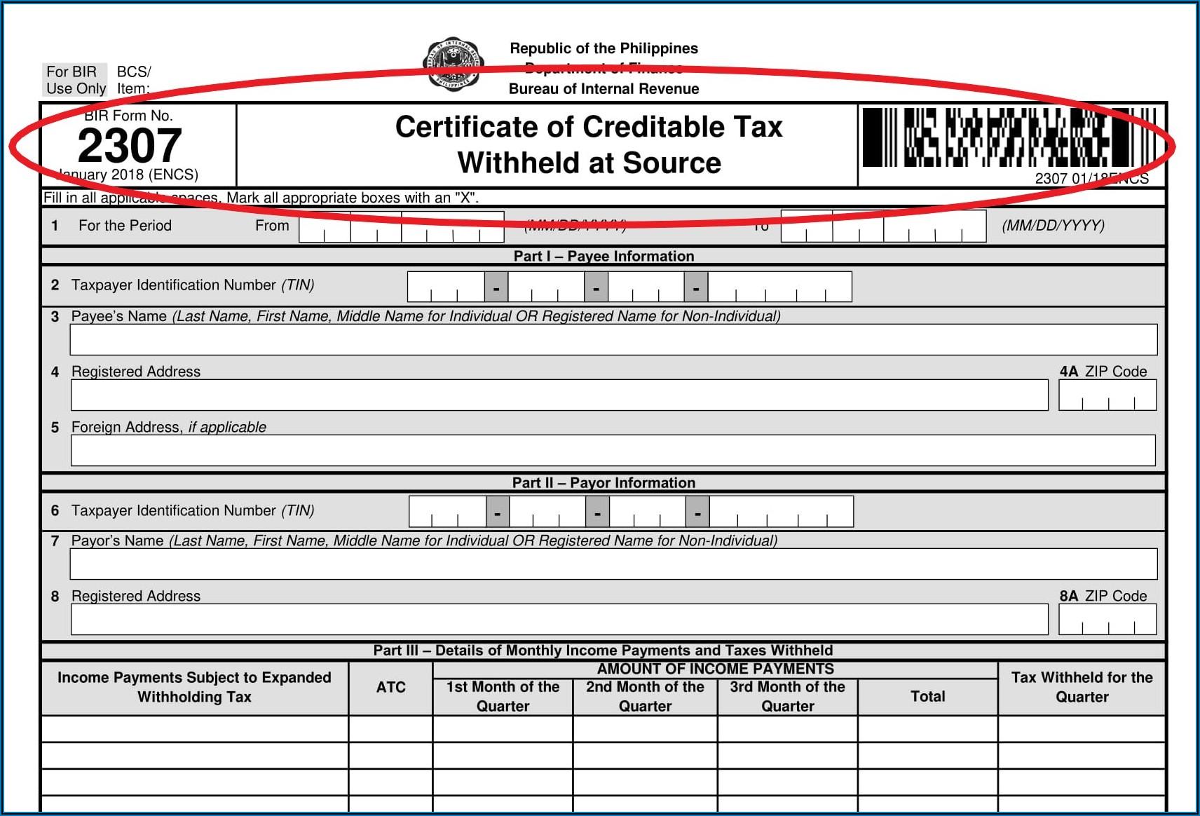 Bureau Of Internal Revenue Form 2307