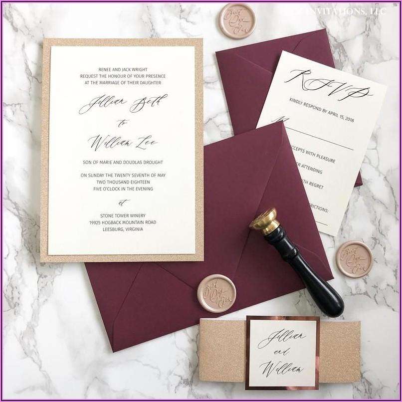 Burgundy And Rose Gold Wedding Invitations