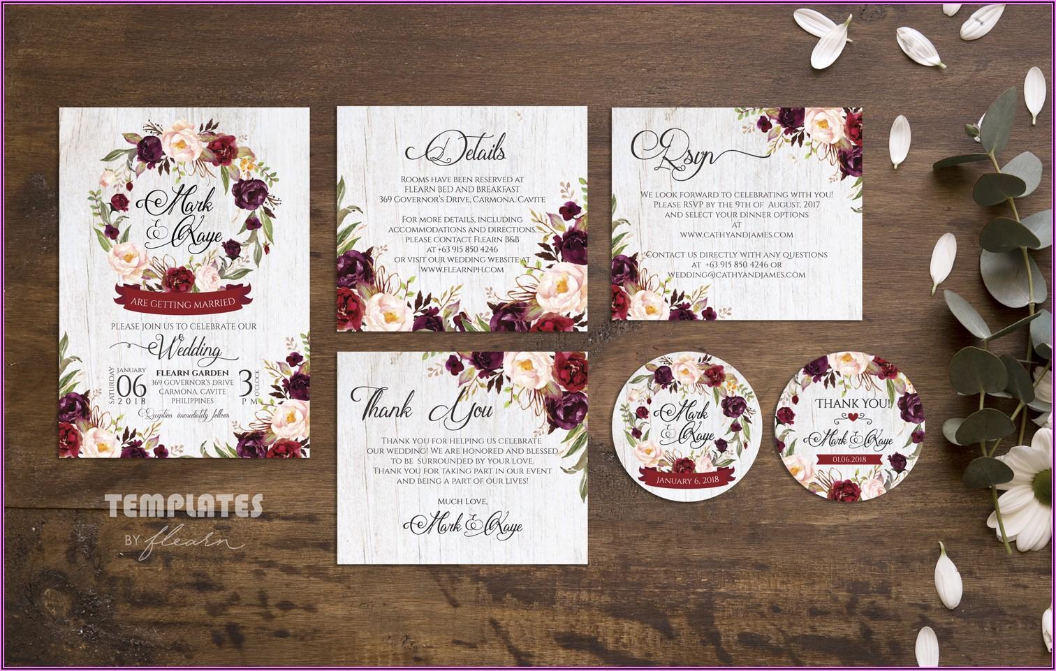 Burgundy Wedding Invitation Free Template