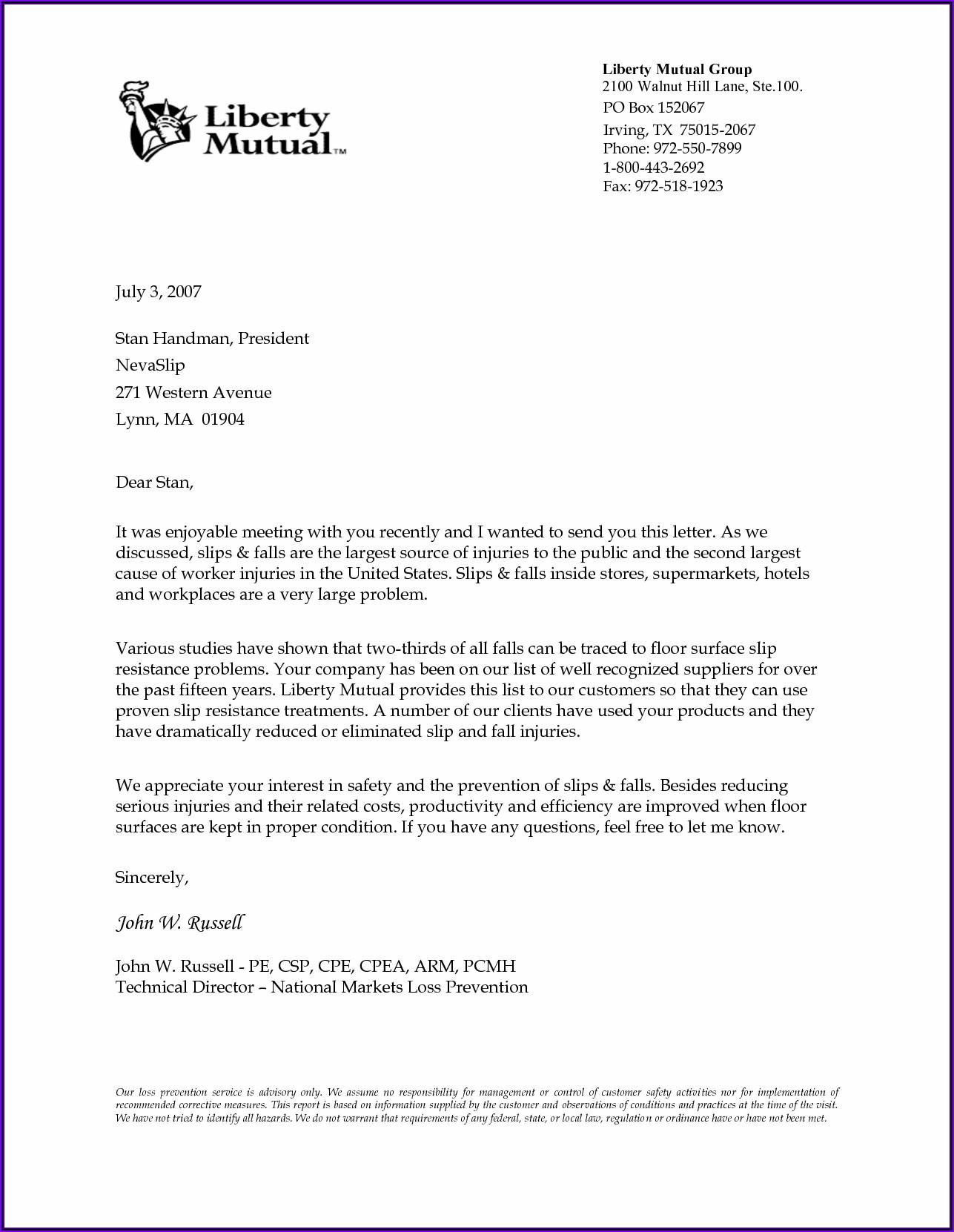Business Letter Sample Word
