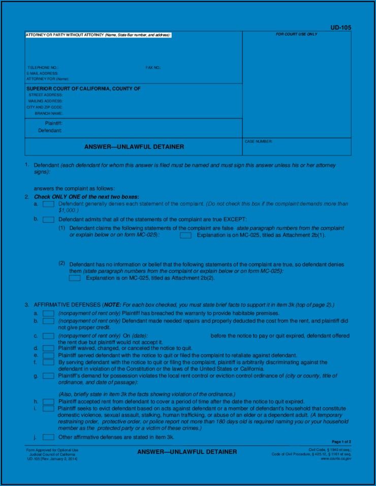 California Eviction Response Form