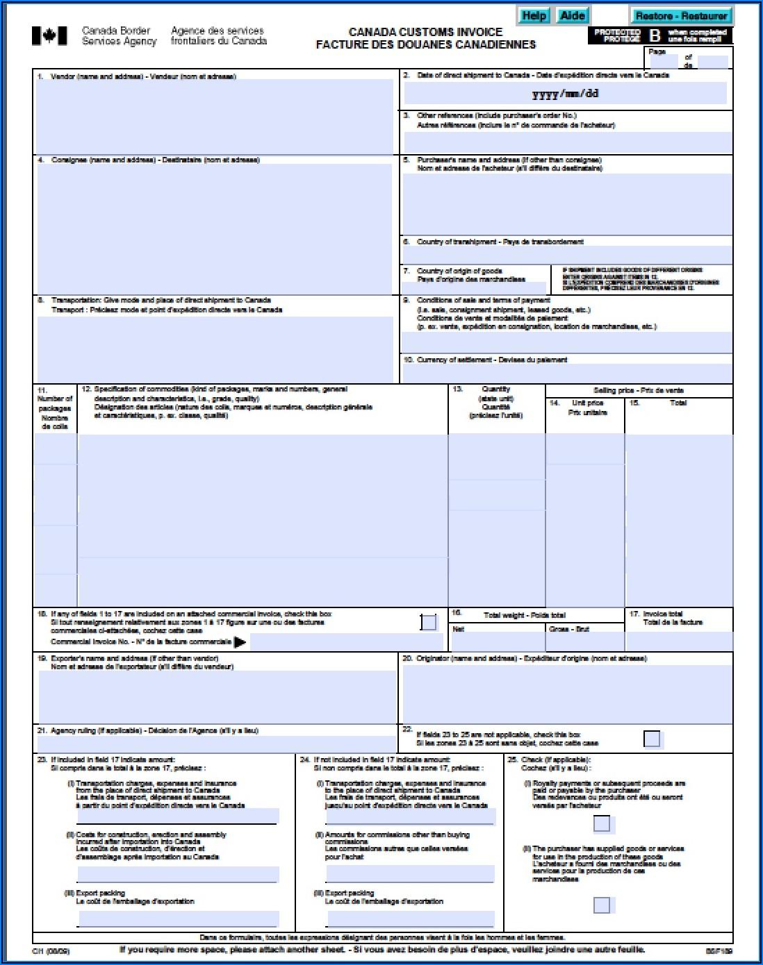 Canadian Customs Invoice Word Document