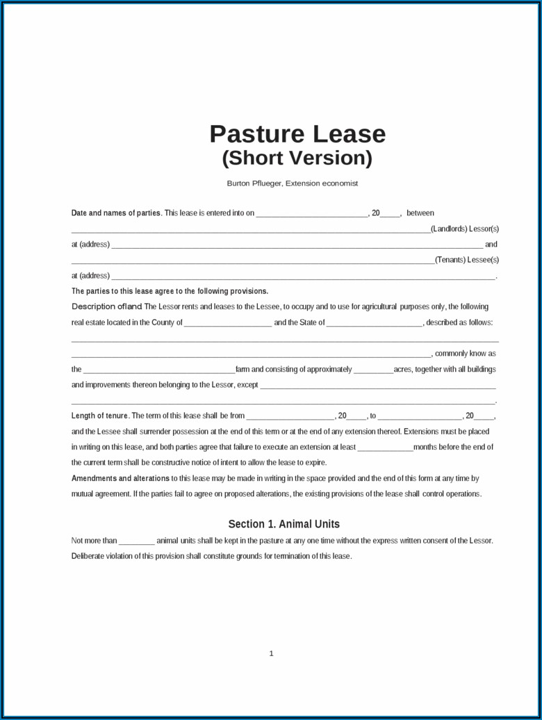 Cattle Pasture Lease Agreement