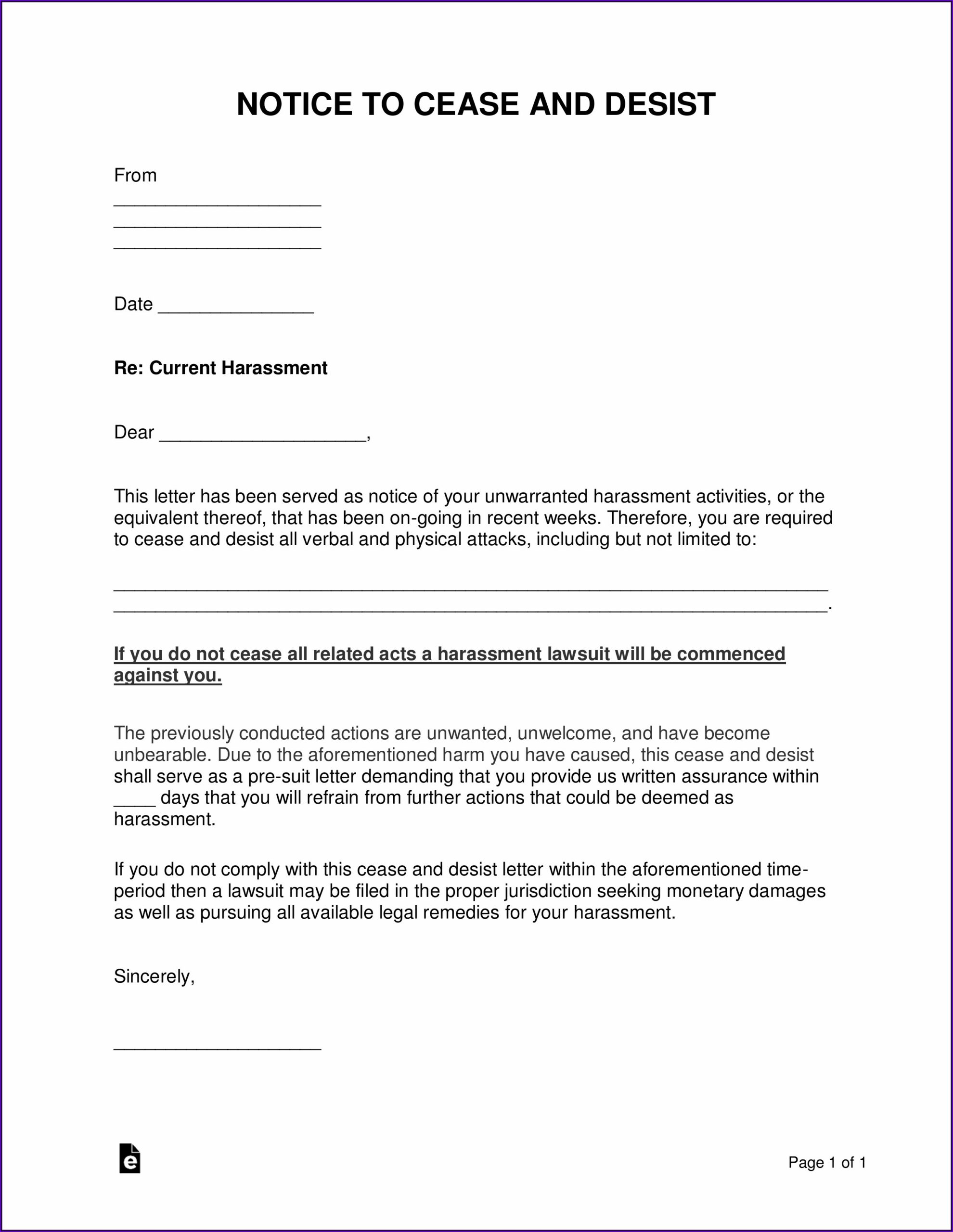 Cease And Desist Letter Example Harassment