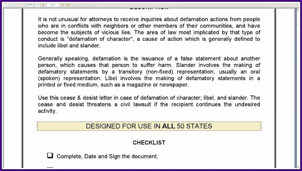 Cease And Desist Letter For Defamation Of Character Template Uk