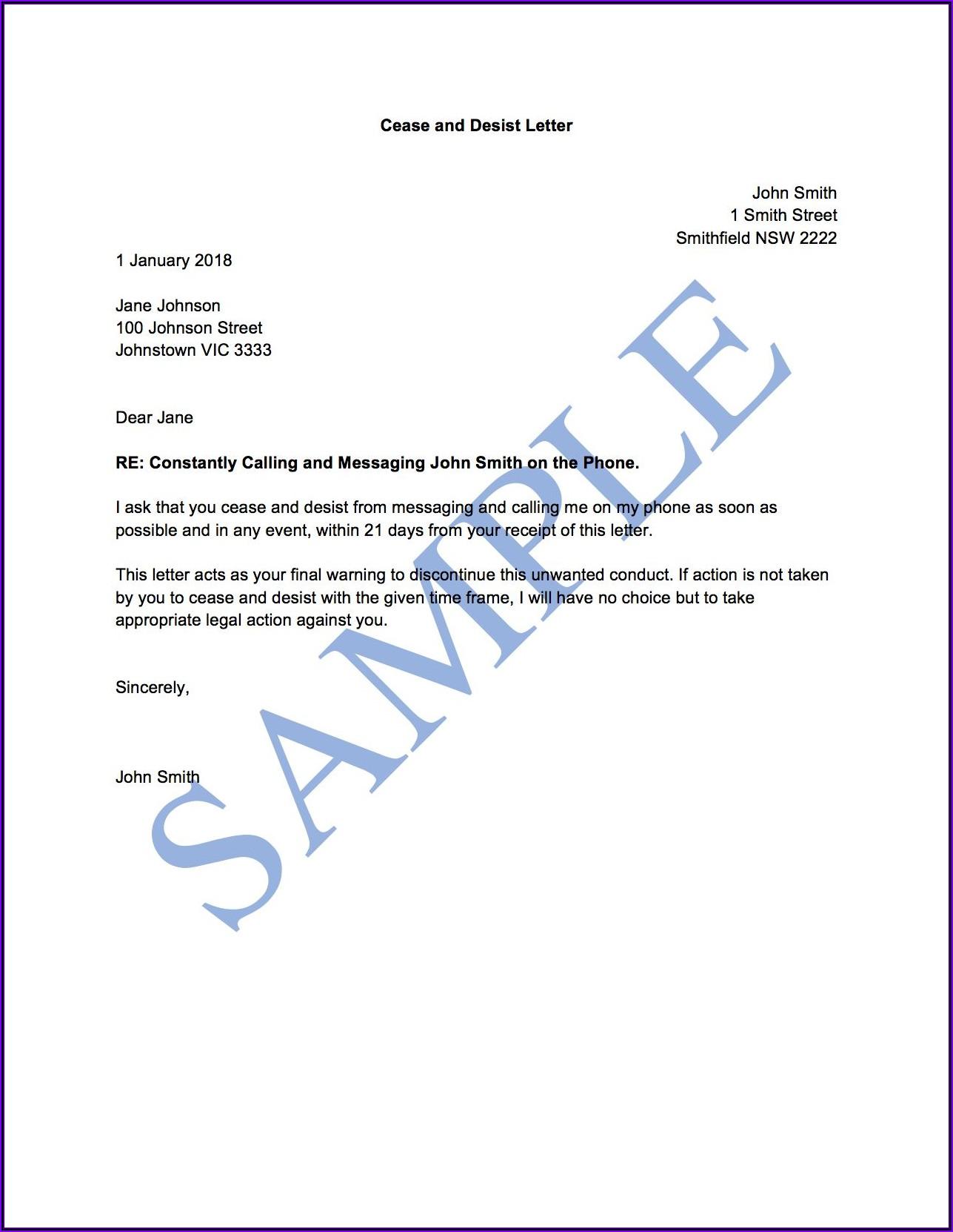 Cease And Desist Letter Template Australia